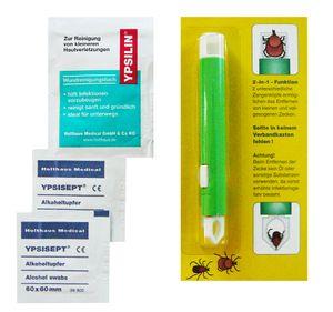 Zeckenzange mit Doppelkopf , Wundreinigungstuch und Alkoholtupfern zur Vermeidung von Infektionen