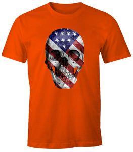 Herren T-Shirt - USA Amerika Flagge Skull Totenkopf - Comfort Fit MoonWorks®  S