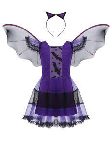 IEFIEL Fledermaus Kostüm mit Flügeln für Mädchen Hexe Kostüm Halloween Kleid,Violett,Gr.116-122