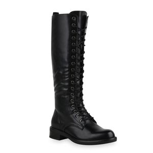 Mytrendshoe Damen Stiefel Schnürer Blockabsatz Schnürstiefel Schuhe 835554, Farbe: Schwarz, Größe: 39