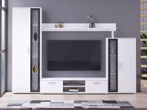 Mirjan24 Wohnwand Bentley, Mediawand mit TV-Lowboard, TV-Möbel (Farbe: Weiß / Schwarz, ohne Beleuchtung)