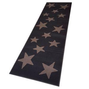 Moderner Läufer Teppich Brücke Teppichläufer Sterne Stars verschiedene Farben ca. 80x250 cm, Größe:80x250 cm, Farbe:dunkelbraun/braun