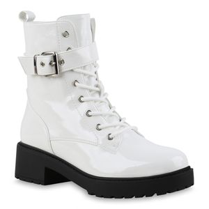 Mytrendshoe Damen Stiefeletten Leicht Gefütterte Schnürstiefeletten Schuh 835821, Farbe: Weiß, Größe: 37