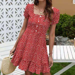 Mode Damen Sommer Blumendruck Kurzarm Kleid Knopf Langes Kleid Größe:XL,Farbe:Rot