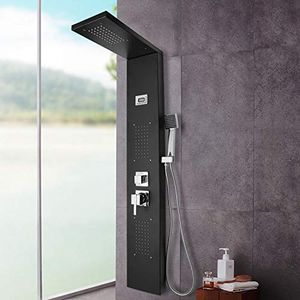karpal Duschsystem mit Thermostat Mischer mit Anti-Verbruehungs-Duschsystem mit Regendusche und Handbrause mit Massagedusche, Wasserfalldusche inklusiv 6 Massageduesen£šSchwarze Farbe£©¡