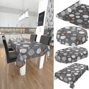 Tischdecke abwaschbar Wachstuch Geometrie Kreise Anthrazit 140x220 cm