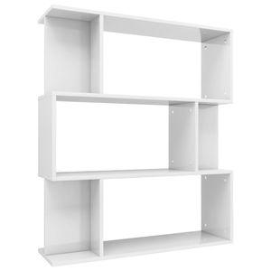 vidaXL Bücherregal/Raumteiler Hochglanz-Weiß 80×24×96 cm Spanplatte