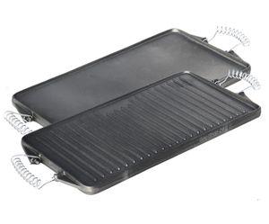 44 x 24 cm Grillplatte aus Gusseisen mit abnehmbaren Federstahlgriffen (geeignet für Gasgrill, Backofen, Gasherd, Campingkocher, Gaskocher) -Gussgrillplatte