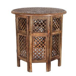 Casa Moro Orientalischer Beistelltisch Hamza braun  52x52x54 cm (B/T/H) rund aus Massivholz geschnitzt   NH-5326-A