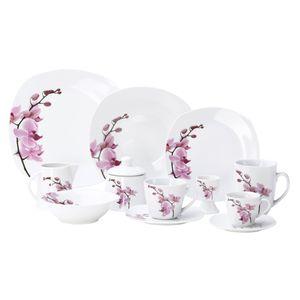Kombiservice 124tlg. Kyoto Orchidee leicht eckig Porzellan für 12 Personen weiß mit Nachbildung