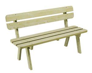 Gartenbank aus Kiefernholz 150 cm breit Holzbank stabil rustikal Gartenmöbel Kiefer massiv Imprägniert