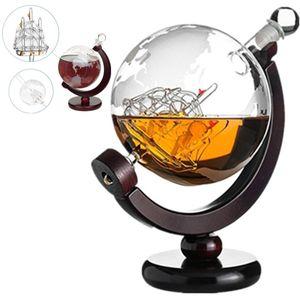 850ml Glas Wein Dekanter Whisky Karaffe Whiskey Dekanter Glaskaraffe Globus