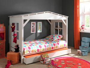 Vipack Spielbett Pino als Haus, Liegefläche 90 x 200 cm, mit Bettschublade 90 x 190 cm - Kiefer teilmassiv weiß lackiert, Maße: 217 cm x 110 cm x 161 cm; PICOCBRB9014