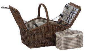Picknickkorb weide braun 4 Personen Kühltasche Besteck mit Henkel