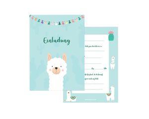 Friendly Fox Lama Alpaka Einladung - 12 Einladungskarten Lama zum Kindergeburtstag Jungen Mädchen - Einladungskarten Kindergeburtstag - Lama Party