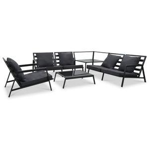 Garten-Palettensofa-Set 5-TLG. Sitzgruppe Gartengarnitur Garten-Lounge-Set mit Auflagen Aluminium Dunkelgrau☆5716