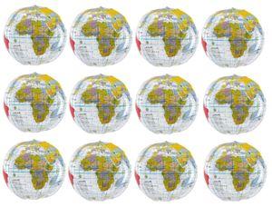 12x Wasserball aufblasbar Globus Weltkugel Strand Wasserspielzeug Ball Ø28 BWI