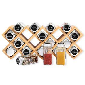 Schramm® Bambus Gewürzregal mit 18 Gewürzgläsern inkl. 40 Labeln, Trichter, Reinigungsbürste 44 x18,5 x 9,5 cm Gewürzständer stehend