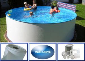 Summer Fun Stahlwandbecken Set Malediven Basic rund ø 4,50m x 1,20m Folie 0,4mm Spar Set Pool Rundpool / 450 x 120 cm Stahlwandpool Rundbecken Poolset