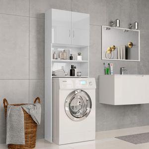 Spanplatte Waschmaschinenschrank Hochglanz-Weiß, 64×25,5×190 cm