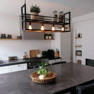 QAZQA - Modern Industrie   Vintage   Hängelampe   Pendellampe   Pendelleuchte   Esstisch   Esszimmer schwarz mit Rack 4-flammig-Licht - Cage Rack   Wohnzimmer   Küche - Stahl Länglich - LED geeignet E27