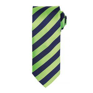 Premier Herren Krawatte mit Streifen Muster  (2 Stück/Packung) RW6944 (Einheitsgröße) (Limette / Marineblau)