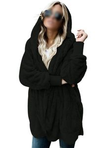 Plus Size Frauen Kapuze Cardigan Fuzzy Fleece Winter Open Front Kunstpelzmantel,Farbe:Schwarz, Größe:XXL