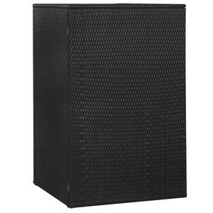 vidaXL Mülltonnenbox für 1 Tonne Schwarz 76x78x120 cm Poly Rattan