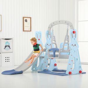 MECO 3in1 Kinder Spielplatz mit Rutsche, Schaukel und Basketballkorb,Kinderrutsche Gartenrutsche,Blau