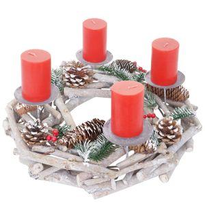 Adventskranz rund, Weihnachtsdeko Tischkranz, Holz Ø 35cm weiß-grau  mit Kerzen, rot