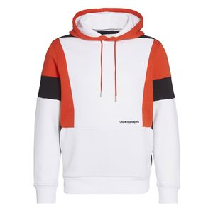 Calvin Klein Jeans Color Block Hoodie Bright White / Fiery Red / Ck Black XL