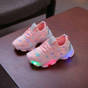 Kinder Kind Baby Mädchen Schmetterling Kristall Led Luminous Sport Run Sneakers Schuhe Größe:25,Farbe:Rosa