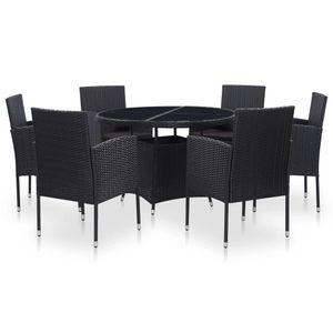 Huicheng Poly Rattan 7-tlg. Garten Essgruppe Sitzgruppe Esstischgruppe mit 6 Rattansessel + Rund Glasplatte Tisch + Auflagen Schwarz