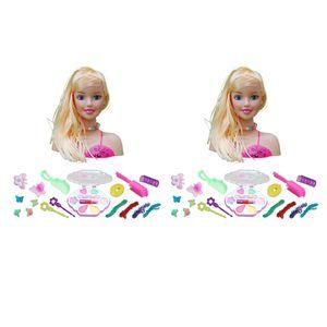 2Pcs Mädchen Frisierkopf Schminkpuppe Frisieren Frisierpuppe mit Haaren Make Up Spielzeug Set
