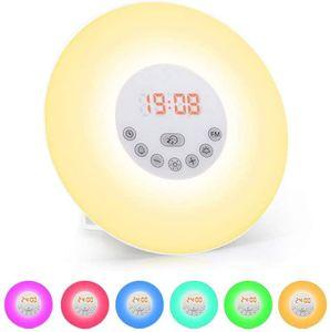 Lichtwecker, Wake Up Licht mit FM Radio Digitaluhr Licht 6 natürlichen Sounds und Farbige 10 Dimmstufen LED Lichter