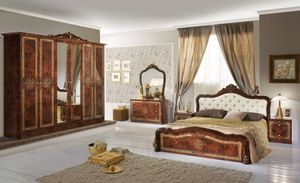 Barock Schlafzimmer Livia in Walnuss 6-Teilig 180 x 200 cm - 6-Türig