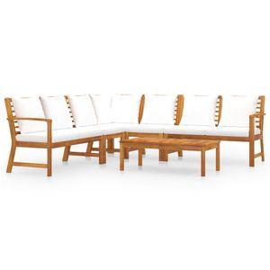 Balkonmöbel Set für 6 Personen, 6-TLG. Garten-Lounge-Set/Sitzgruppe/Gartengarnitur mit Auflagen Creme Massivholz Akazie☆2416