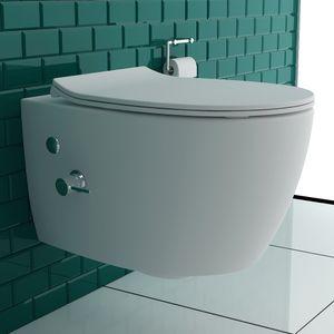 Hänge-WC spülrandlos Dusch-WC KeramikTiefspül Toilette inkl. WC-Sitz und Bidet-Armtatur
