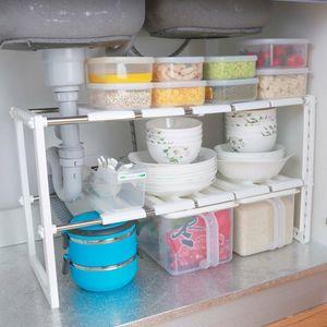 2 Etagen Küchenregal Unterschrankregal Schuhregal Teleskopregal Flexibel Spülschrankregal Aufbewahrung Halterung