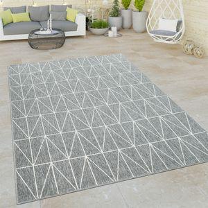Outdoor Indoor Grau Teppich 3D Optik Skandi Look Skandinavisches Design Kurzflor, Grösse:160x230 cm