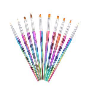 10 stuecke Acryl Nagelbuerste Kit Nail art Tipps UV Gel Nagel Builder Pinsel fuer Nail art Design Malerei Zeichenstift Set Nagel werkzeug