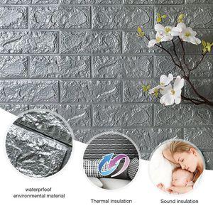 10pcs Grau 3D Ziegel Tapete, Wandpaneele Stereo Wandtattoo Papier Abnehmbare selbstklebend Tapete für Schlafzimmer Wohnzimmer moderne Hintergrund TV-Decor