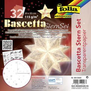 "folia Faltblätter Bascetta-Stern ""Transparentpapier"" 150 x 150 mm 32 Blatt weiß"