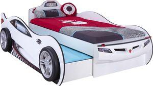 Cilek COUPE Autobett Kinderbett Bett Ausziehbett Rennfahrerbett Weiß, Matratzen oben/unten:ohne