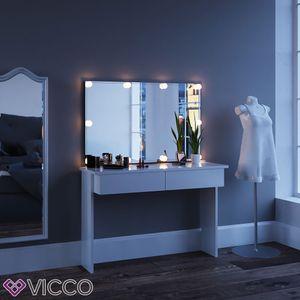 Vicco Schminktisch Azur Kosmetiktisch Frisiertisch Frisierkommode Weiß Hochglanz inklusive  Spiegel und LED-Lichterkette