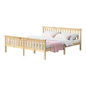 Holzbett mit hohem Kopfteil und Lattenrost 180x200 cm Doppelbett Ehebett Bettgestell Kiefernholz Natur Holz [en.casa]