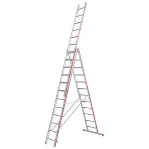 Hymer Allzweckleiter, dreiteilig, 3x14 Sprossen, senkr. Höhe 6,65 m, Reichhöhe 7,22 / 10,35 m, Gewicht 31,8 kg