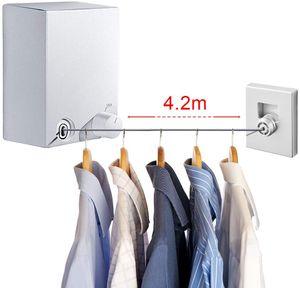 Wäscheleine Einziehbare, Verstellbares Wäscheleine ausziehbar aus Edelstahl 4.2 Meter, Bohrern und Klebern Montage für Drinnen und DraußEn Weiß