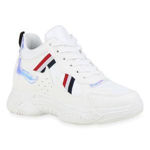 Mytrendshoe Damen Plateau Sneaker Turnschuhe Schnürer Metallic Freizeitschuhe 831153, Farbe: Weiß, Größe: 37