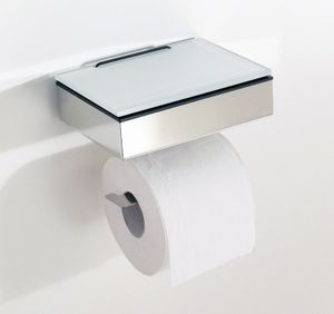 Toilettenpapierhalter mit Feuchttücherbox - Edelstahl poliert - Feuchttuchbox mit Papierhalter (Glas weiß)
